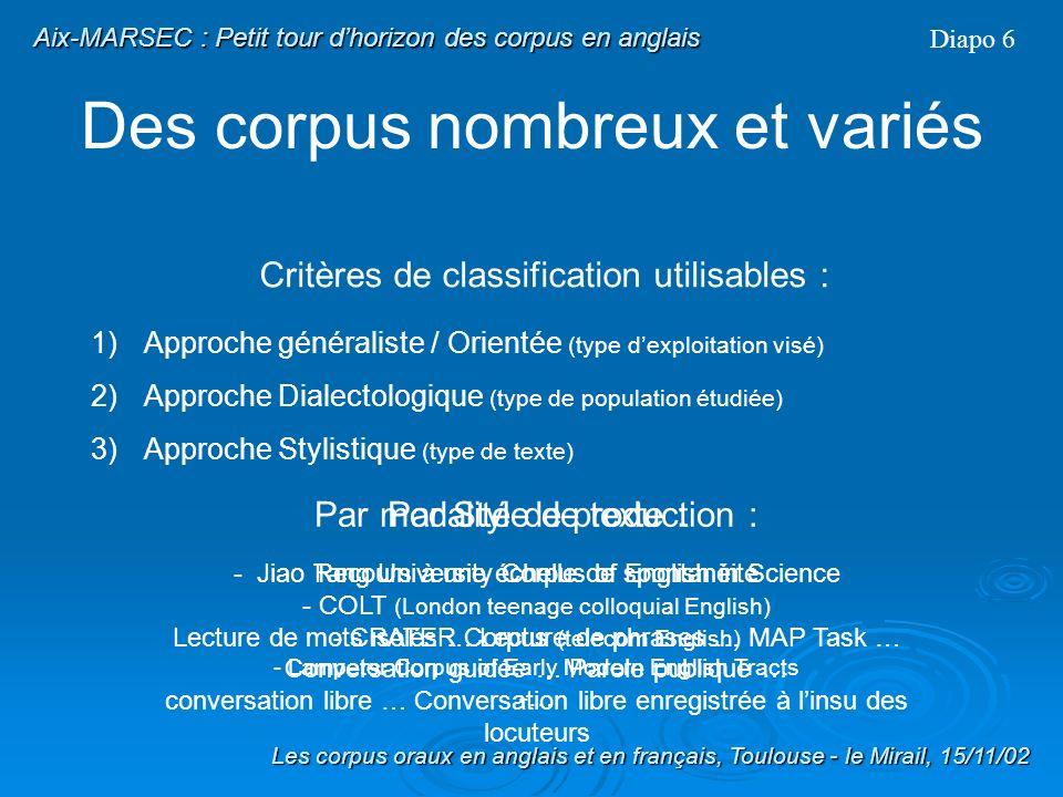 Traitement des élisions Diapo 42 Les corpus oraux en anglais et en français, Toulouse - le Mirail, 15/11/02 Aix-MARSEC : Le corpus Aix-MARSEC Traitements Différentes étapes de la phonétisation (4) - Observation des élisions dans le corpus - Établissement de 14 règles phonotactiques délisions daprès Jones (1990), Wells (1990) et Cruttenden (1997) daprès les données - Application des 14 règles au corpus - Suppression totale de 4027 phonèmes But : améliorer la transcription phonématique pour lalignement automatique