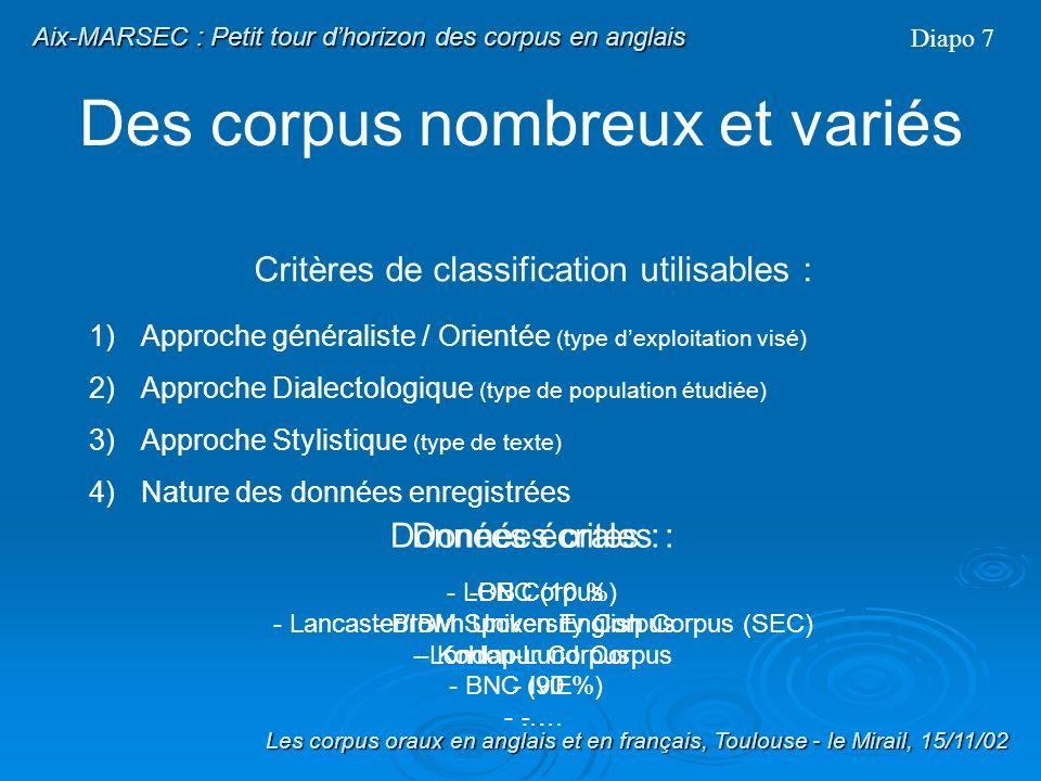 DeMARSECàAIX-MARSEC Les corpus oraux en anglais et en français, Toulouse - le Mirail, 15/11/02 Aix-MARSEC : Le corpus Aix-MARSEC