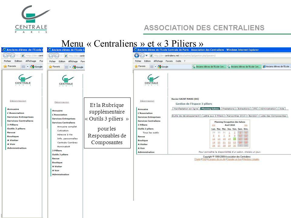 ASSOCIATION DES CENTRALIENS Menu « Centraliens » et « 3 Piliers » Et la Rubrique supplémentaire « Outils 3 piliers » pour les Responsables de Composantes