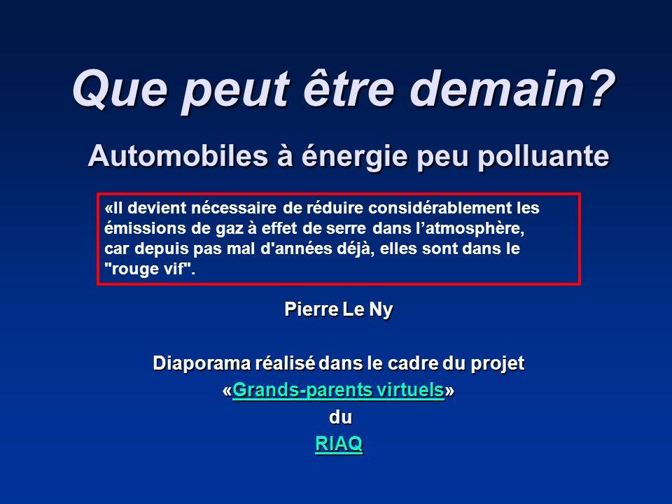 Que peut être demain? Automobiles à énergie peu polluante Pierre Le Ny Diaporama réalisé dans le cadre du projet «Grands-parents virtuels» Grands-pare