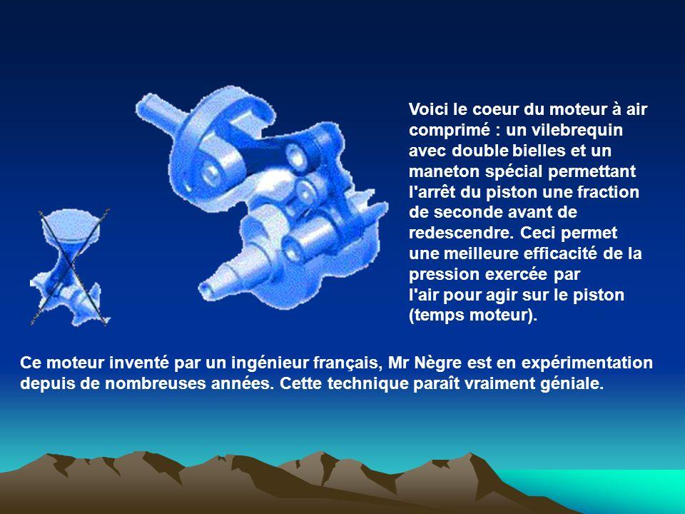 Voici le coeur du moteur à air comprimé : un vilebrequin avec double bielles et un maneton spécial permettant l'arrêt du piston une fraction de second