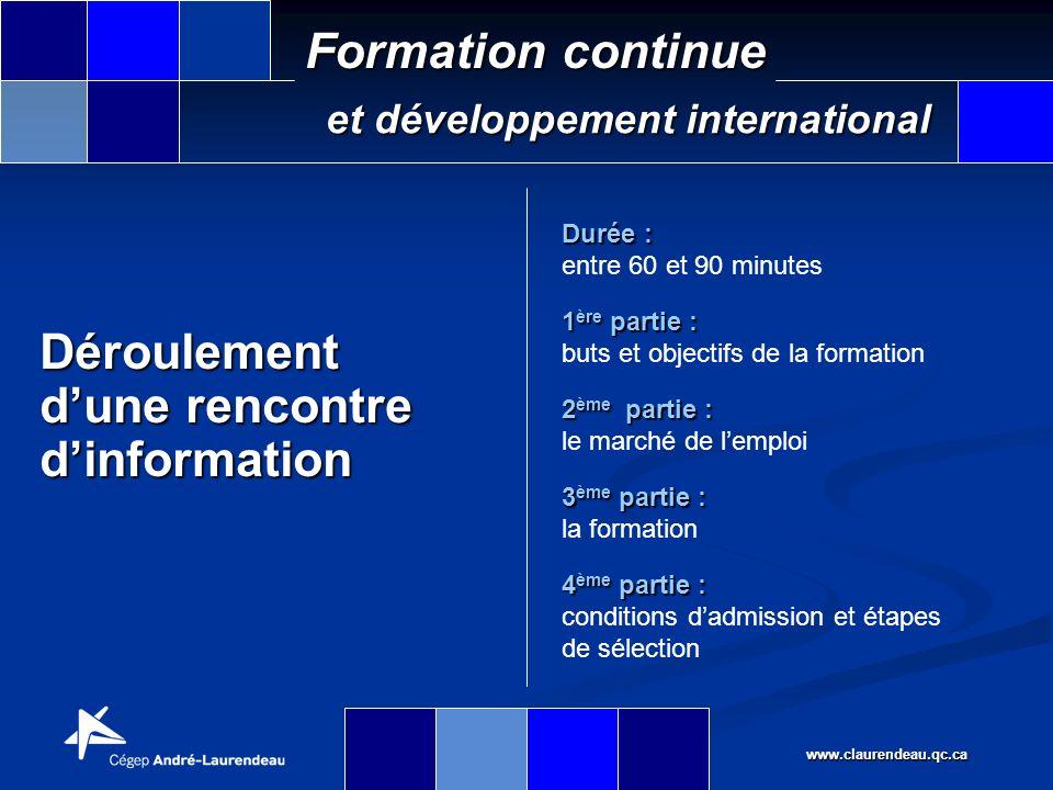 www.claurendeau.qc.ca Formation continue et développement international Types de besoins Hausse de lemploi dans toutes les professions en lien avec le transport et le dédouanement des marchandises