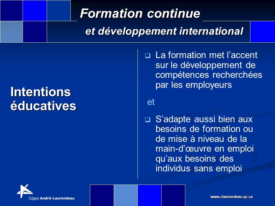 www.claurendeau.qc.ca Formation continue et développement international www.claurendeau.qc.ca/pdm