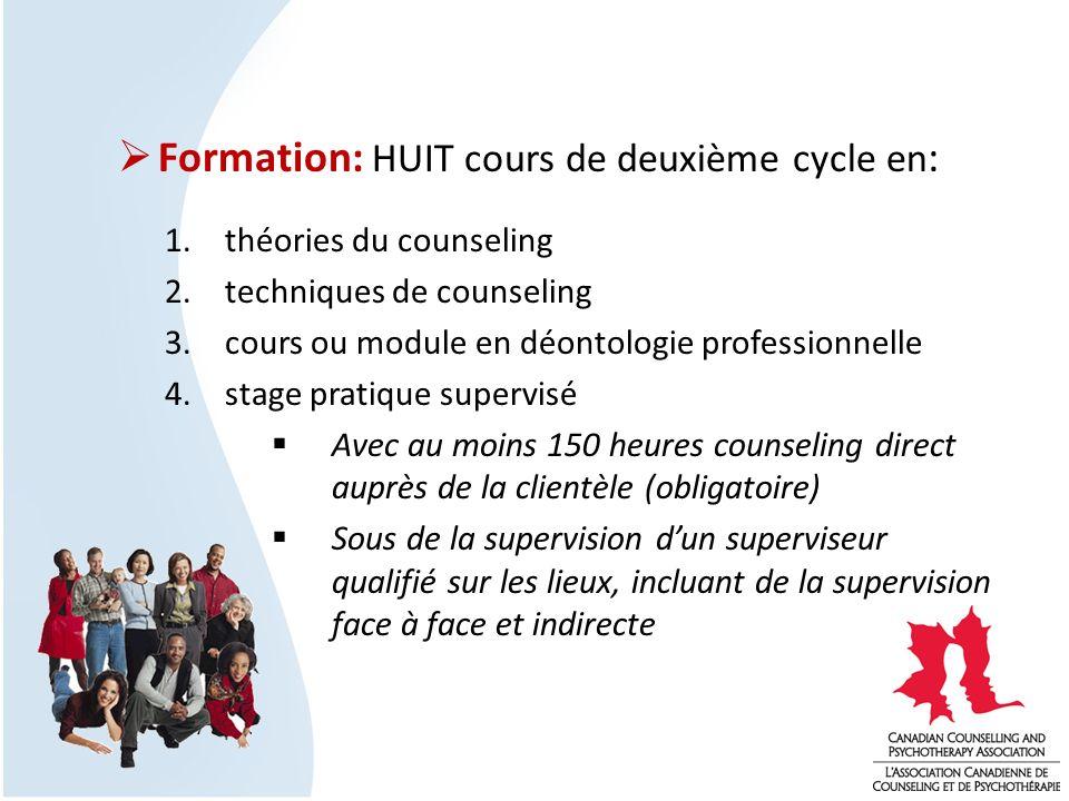 Formation: HUIT cours de deuxième cycle en : 1.théories du counseling 2.techniques de counseling 3.cours ou module en déontologie professionnelle 4.st