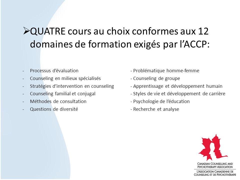 QUATRE cours au choix conformes aux 12 domaines de formation exigés par lACCP: -Processus dévaluation- Problématique homme-femme -Counseling en milieu