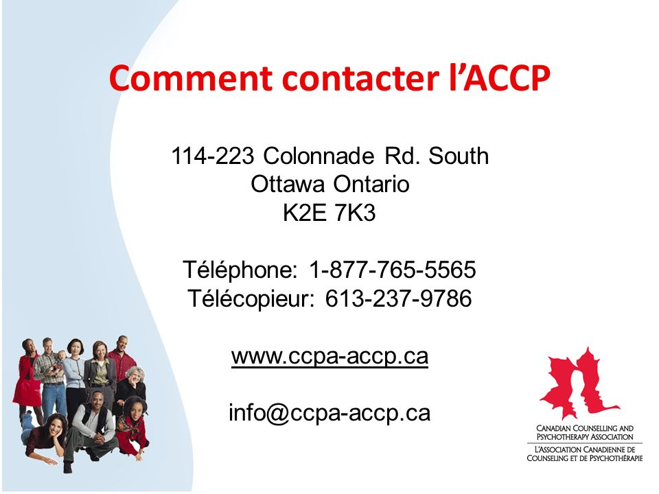 Comment contacter lACCP 114-223 Colonnade Rd.