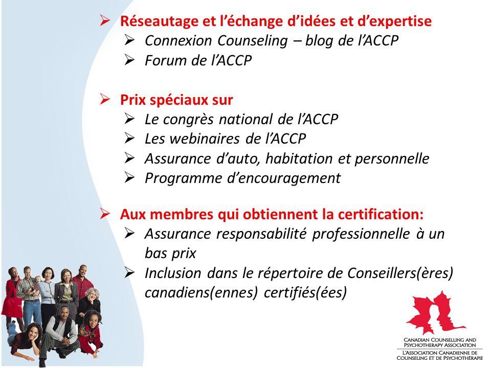 Réseautage et léchange didées et dexpertise Connexion Counseling – blog de lACCP Forum de lACCP Prix spéciaux sur Le congrès national de lACCP Les web