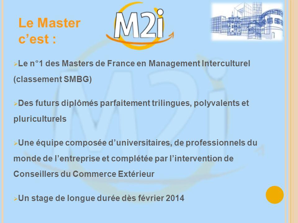 Le n°1 des Masters de France en Management Interculturel (classement SMBG) Des futurs diplômés parfaitement trilingues, polyvalents et pluriculturels