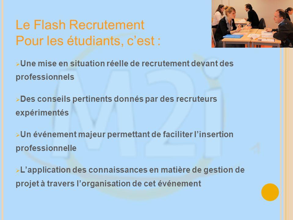 Une mise en situation réelle de recrutement devant des professionnels Des conseils pertinents donnés par des recruteurs expérimentés Un événement maje