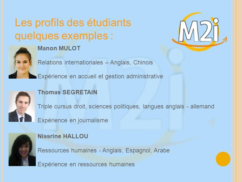 Les profils des étudiants quelques exemples : Nissrine HALLOU Ressources humaines - Anglais, Espagnol, Arabe Expérience en ressources humaines Manon M