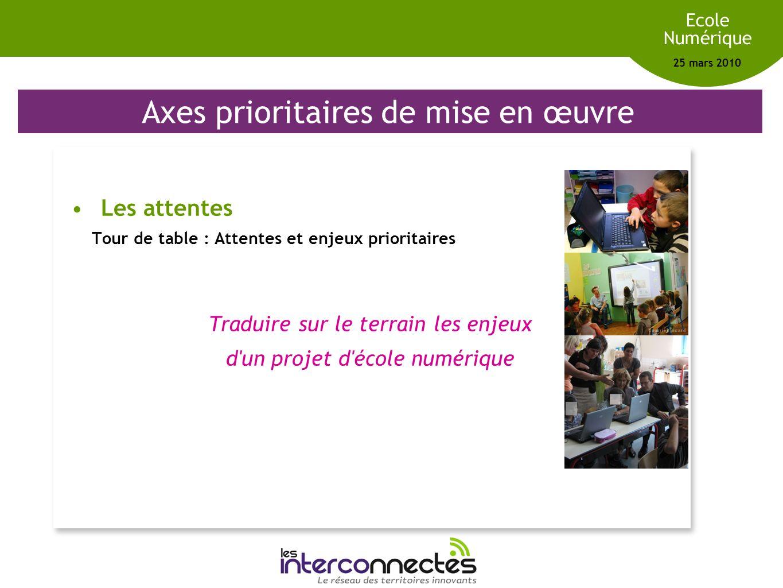 Réseau des territoires innovants Ecole Numérique 25 mars 2010 Axes prioritaires de mise en œuvre Les attentes Tour de table : Attentes et enjeux prior