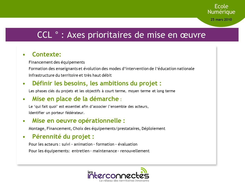 Réseau des territoires innovants Ecole Numérique 25 mars 2010 CCL ° : Axes prioritaires de mise en œuvre Contexte: Financement des équipements Formati