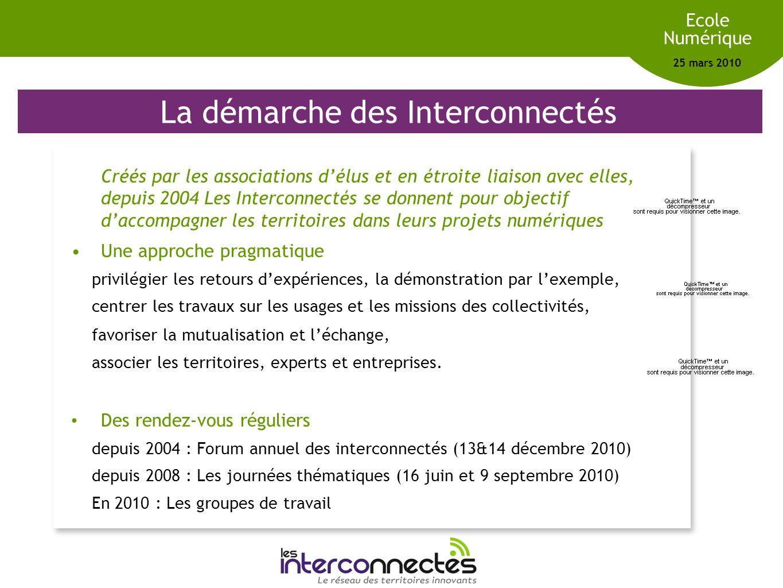 Réseau des territoires innovants Ecole Numérique 25 mars 2010 La démarche des Interconnectés Créés par les associations délus et en étroite liaison av