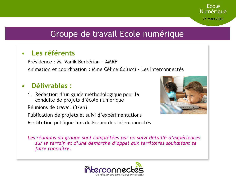 Réseau des territoires innovants Ecole Numérique 25 mars 2010 Ordre du jour 14h-15h : Réussir lécole numérique - Introduction 1.