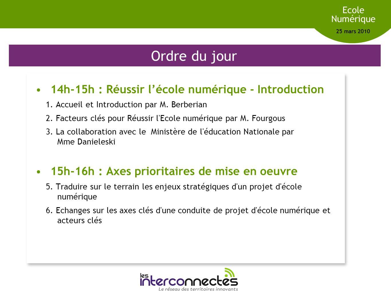 Réseau des territoires innovants Ecole Numérique 25 mars 2010 Ordre du jour 14h-15h : Réussir lécole numérique - Introduction 1. Accueil et Introducti