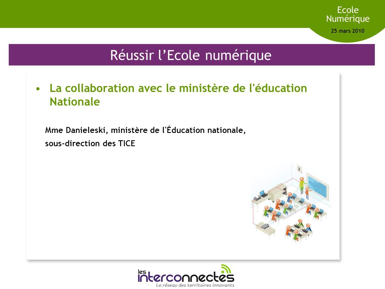 Réseau des territoires innovants Ecole Numérique 25 mars 2010 Réussir lEcole numérique La collaboration avec le ministère de l'éducation Nationale Mme