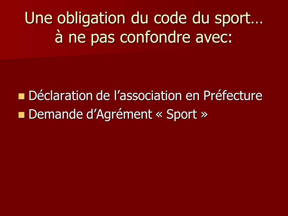 Une obligation du code du sport… à ne pas confondre avec: Déclaration de lassociation en Préfecture Déclaration de lassociation en Préfecture Demande