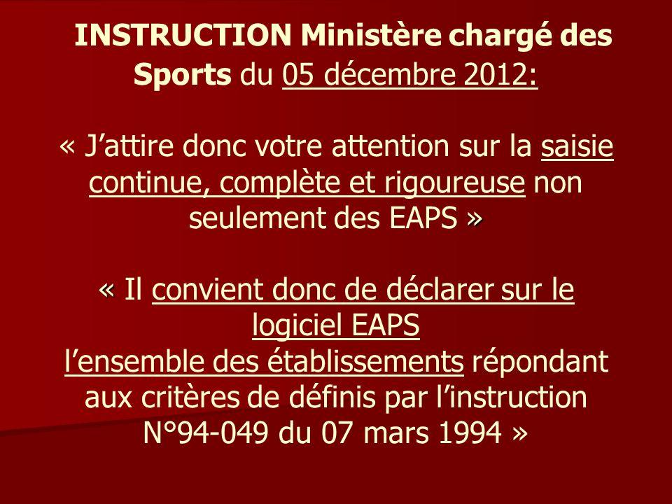 » « INSTRUCTION Ministère chargé des Sports du 05 décembre 2012: « Jattire donc votre attention sur la saisie continue, complète et rigoureuse non seu