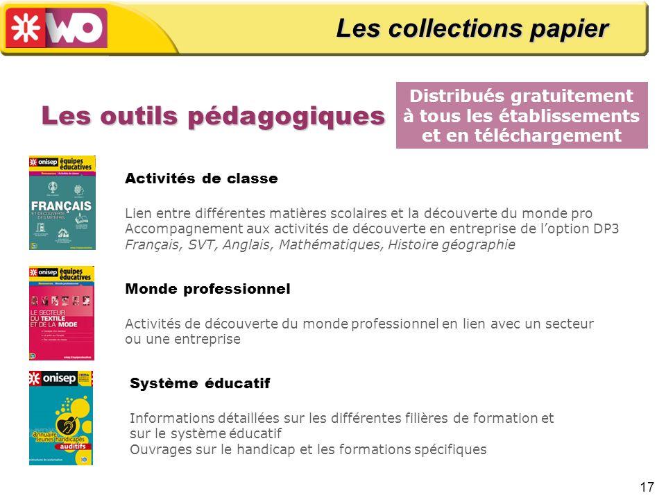 17 Les outils pédagogiques Distribués gratuitement à tous les établissements et en téléchargement Les collections papier Monde professionnel Activités