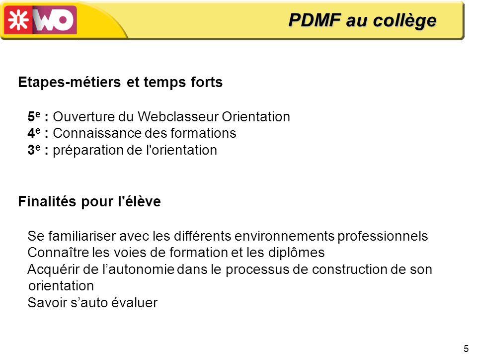 5 Etapes-métiers et temps forts 5 e : Ouverture du Webclasseur Orientation 4 e : Connaissance des formations 3 e : préparation de l'orientation Finali