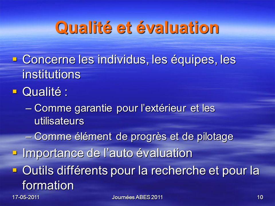 Qualité et évaluation Concerne les individus, les équipes, les institutions Concerne les individus, les équipes, les institutions Qualité : Qualité :
