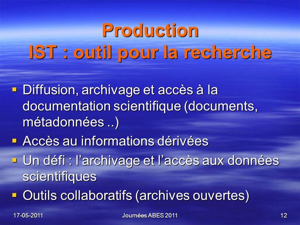 Production IST : outil pour la recherche Production IST : outil pour la recherche Diffusion, archivage et accès à la documentation scientifique (docum