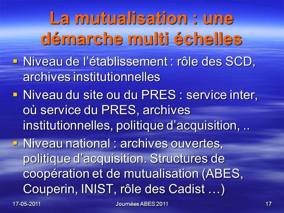 La mutualisation : une démarche multi échelles Niveau de létablissement : rôle des SCD, archives institutionnelles Niveau de létablissement : rôle des