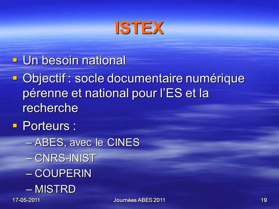 ISTEX Un besoin national Un besoin national Objectif : socle documentaire numérique pérenne et national pour lES et la recherche Objectif : socle docu