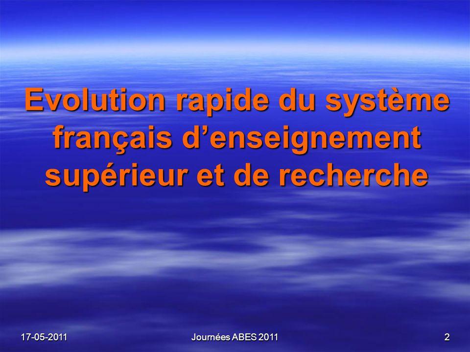Evolution rapide du système français denseignement supérieur et de recherche 17-05-2011Journées ABES 20112