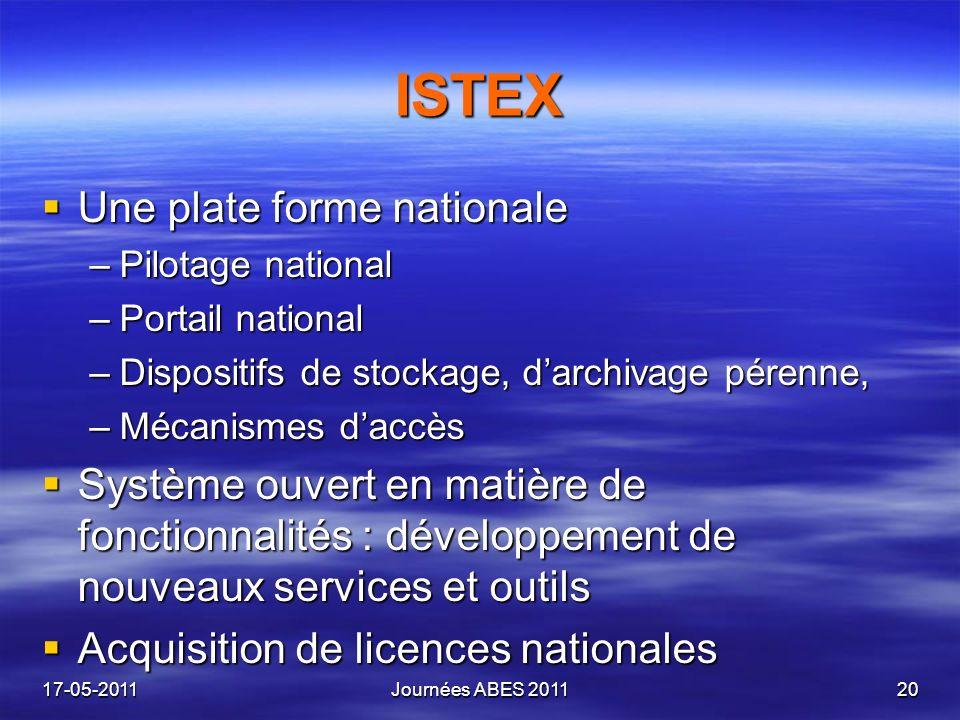 ISTEX Une plate forme nationale Une plate forme nationale –Pilotage national –Portail national –Dispositifs de stockage, darchivage pérenne, –Mécanism