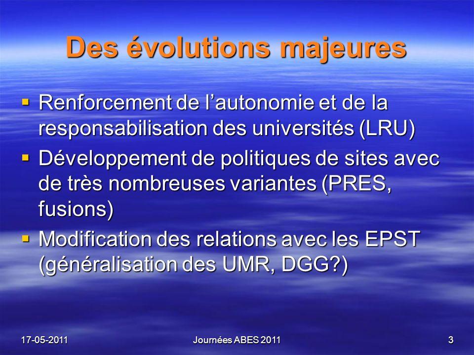 Des évolutions majeures Renforcement de lautonomie et de la responsabilisation des universités (LRU) Renforcement de lautonomie et de la responsabilisation des universités (LRU) Développement de politiques de sites avec de très nombreuses variantes (PRES, fusions) Développement de politiques de sites avec de très nombreuses variantes (PRES, fusions) Modification des relations avec les EPST (généralisation des UMR, DGG ) Modification des relations avec les EPST (généralisation des UMR, DGG ) 17-05-2011Journées ABES 20113