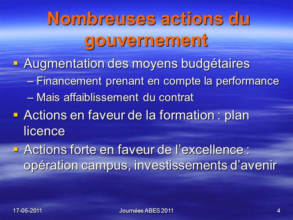 Nombreuses actions du gouvernement Nombreuses actions du gouvernement Augmentation des moyens budgétaires Augmentation des moyens budgétaires –Finance