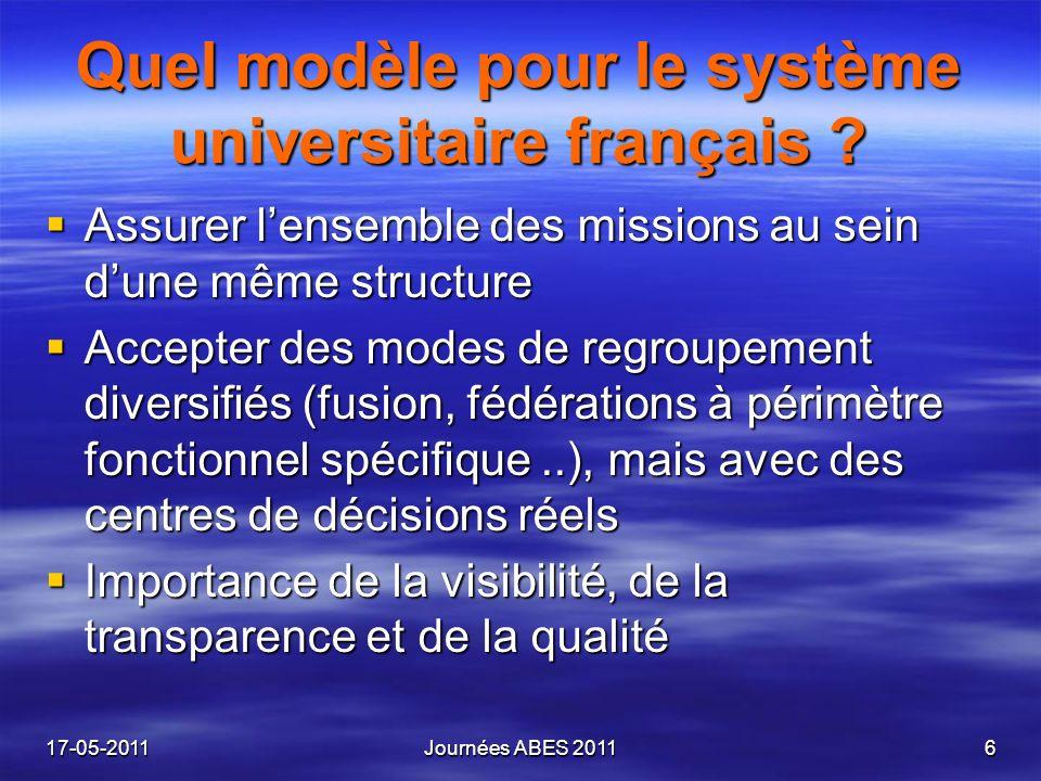 Quel modèle pour le système universitaire français ? Assurer lensemble des missions au sein dune même structure Assurer lensemble des missions au sein