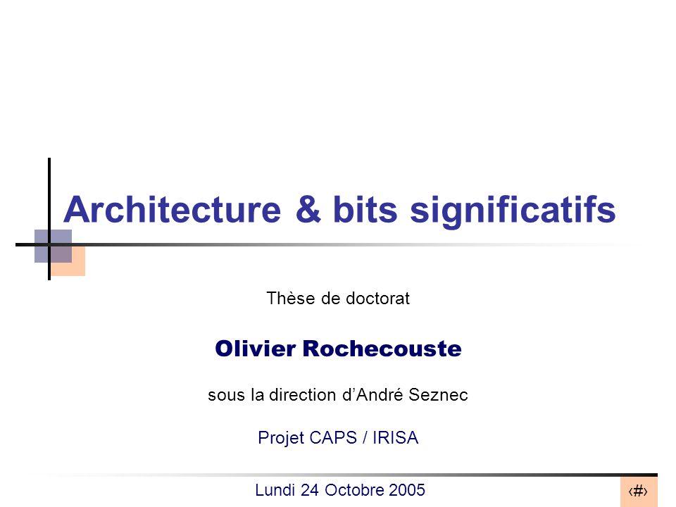 2 Problématique Évolution de la taille des mots traités par le processeur : –Intel 4004 (1971) : 4-bit –Intel Itanium (2000) : 64-bit Usage restreint des données 64-bit dans les applications : –applications multimédia (audio/vidéo 8-/16-bit) –50% des données entières sont sur 16-bit à lexécution [Brooks99] Surdimensionnement de la microarchitecture .