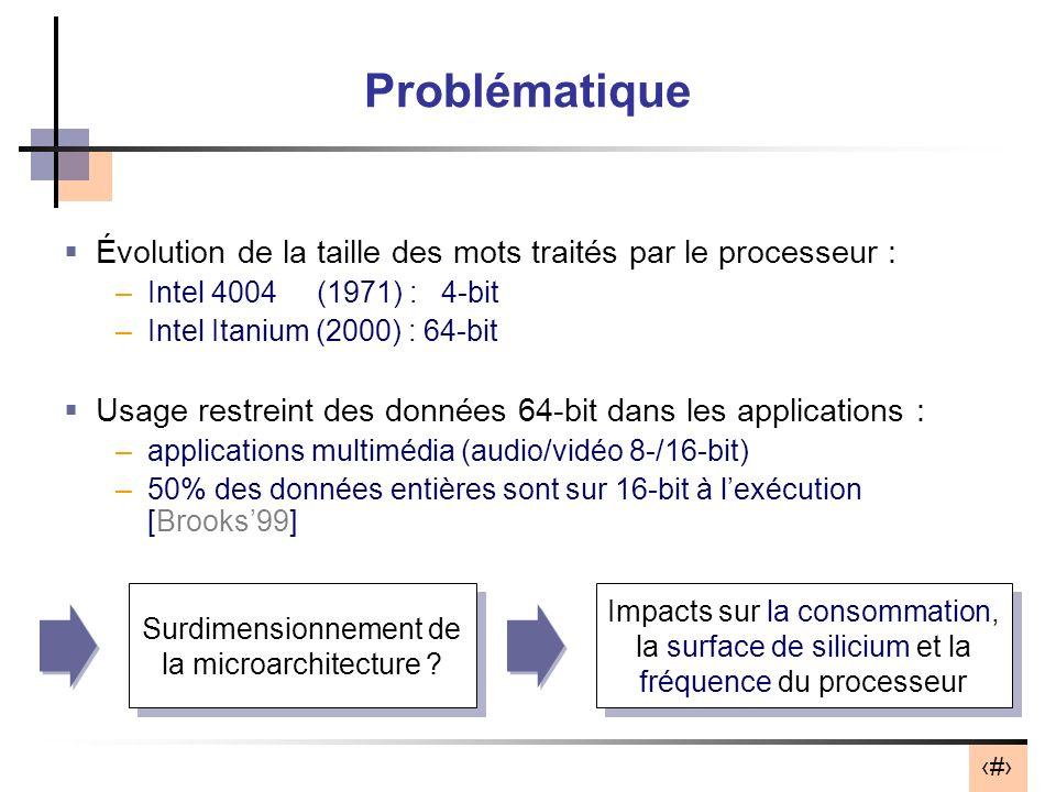 2 Problématique Évolution de la taille des mots traités par le processeur : –Intel 4004 (1971) : 4-bit –Intel Itanium (2000) : 64-bit Usage restreint