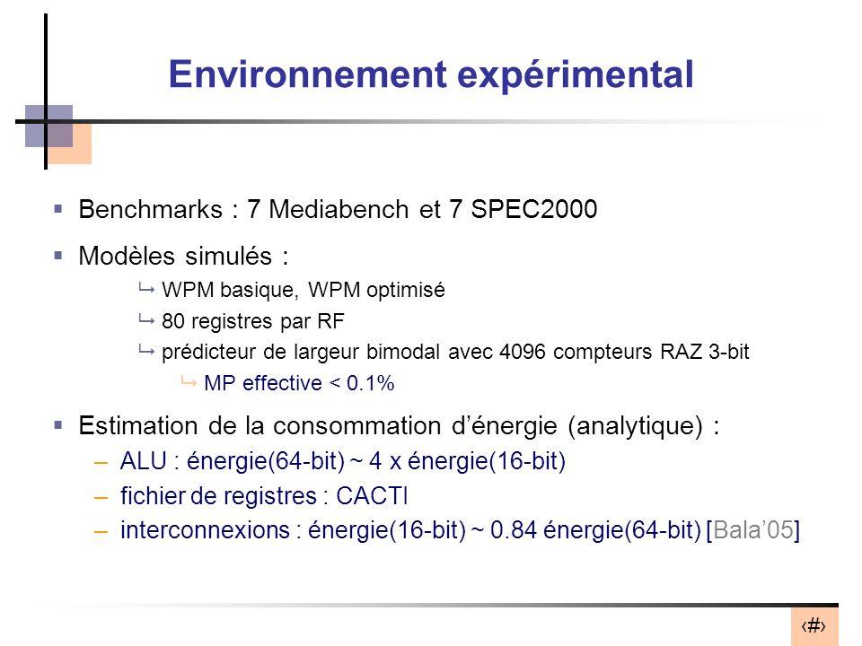 24 Environnement expérimental Benchmarks : 7 Mediabench et 7 SPEC2000 Modèles simulés : WPM basique, WPM optimisé 80 registres par RF prédicteur de largeur bimodal avec 4096 compteurs RAZ 3-bit MP effective < 0.1% Estimation de la consommation dénergie (analytique) : –ALU : énergie(64-bit) ~ 4 x énergie(16-bit) –fichier de registres : CACTI –interconnexions : énergie(16-bit) ~ 0.84 énergie(64-bit) [Bala05]