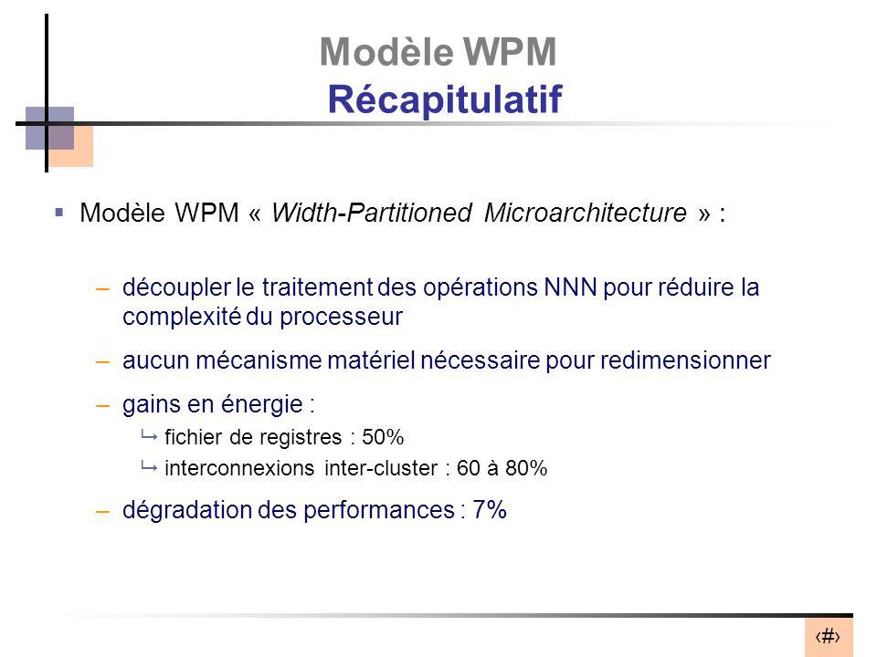 30 Modèle WPM Récapitulatif Modèle WPM « Width-Partitioned Microarchitecture » : –découpler le traitement des opérations NNN pour réduire la complexit