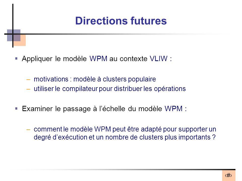32 Directions futures Appliquer le modèle WPM au contexte VLIW : –motivations : modèle à clusters populaire –utiliser le compilateur pour distribuer les opérations Examiner le passage à léchelle du modèle WPM : –comment le modèle WPM peut être adapté pour supporter un degré dexécution et un nombre de clusters plus importants ?