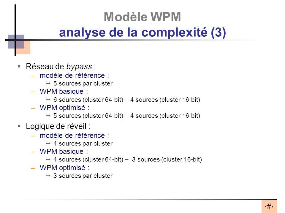 39 Modèle WPM analyse de la complexité (3) Réseau de bypass : –modèle de référence : 5 sources par cluster –WPM basique : 6 sources (cluster 64-bit) – 4 sources (cluster 16-bit) –WPM optimisé : 5 sources (cluster 64-bit) – 4 sources (cluster 16-bit) Logique de réveil : –modèle de référence : 4 sources par cluster –WPM basique : 4 sources (cluster 64-bit) – 3 sources (cluster 16-bit) –WPM optimisé : 3 sources par cluster