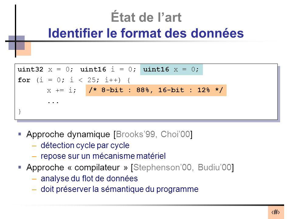4 État de lart Identifier le format des données Approche dynamique [Brooks99, Choi00] –détection cycle par cycle –repose sur un mécanisme matériel App