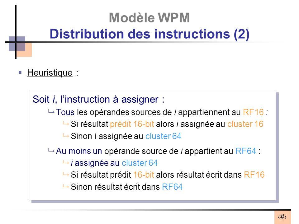 40 Modèle WPM Distribution des instructions (2) Heuristique : Soit i, linstruction à assigner : Tous les opérandes sources de i appartiennent au RF16 : Si résultat prédit 16-bit alors i assignée au cluster 16 Sinon i assignée au cluster 64 Au moins un opérande source de i appartient au RF64 : i assignée au cluster 64 Si résultat prédit 16-bit alors résultat écrit dans RF16 Sinon résultat écrit dans RF64