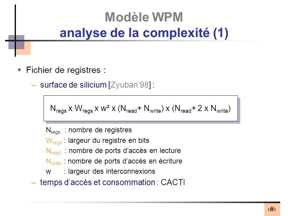 41 Fichier de registres : –surface de silicium [Zyuban98] : N regs : nombre de registres W regs : largeur du registre en bits N read : nombre de ports daccès en lecture N write : nombre de ports daccès en écriture w : largeur des interconnexions –temps daccès et consommation : CACTI Modèle WPM analyse de la complexité (1) N regs x W regs x w² x (N read + N write ) x (N read + 2 x N write )