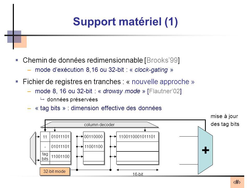 9 8-bit mode 16-bit mode 32-bit mode Support matériel (1) Chemin de données redimensionnable [Brooks99] –mode dexécution 8,16 ou 32-bit : « clock-gating » Fichier de registres en tranches : « nouvelle approche » –mode 8, 16 ou 32-bit : « drowsy mode » [Flautner02] données préservées –« tag bits » : dimension effective des données 01 10 column decoder 00110000 11001100 1100110001011101 01011101 11001100 16-bit 01011101 11 - tag bits + mise à jour des tag bits