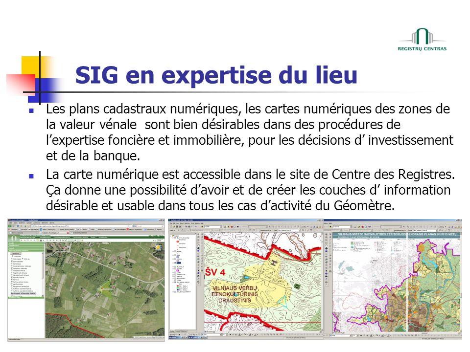 SIG en expertise du lieu Les plans cadastraux numériques, les cartes numériques des zones de la valeur vénale sont bien désirables dans des procédures de lexpertise foncière et immobilière, pour les décisions d investissement et de la banque.