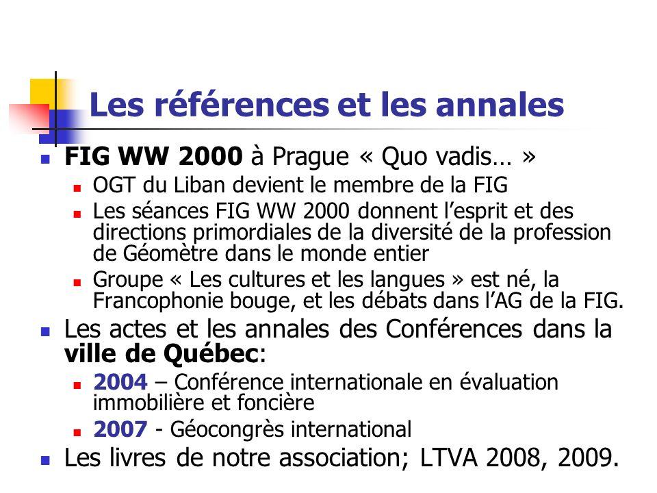 Les références et les annales FIG WW 2000 à Prague « Quo vadis… » OGT du Liban devient le membre de la FIG Les séances FIG WW 2000 donnent lesprit et des directions primordiales de la diversité de la profession de Géomètre dans le monde entier Groupe « Les cultures et les langues » est né, la Francophonie bouge, et les débats dans lAG de la FIG.