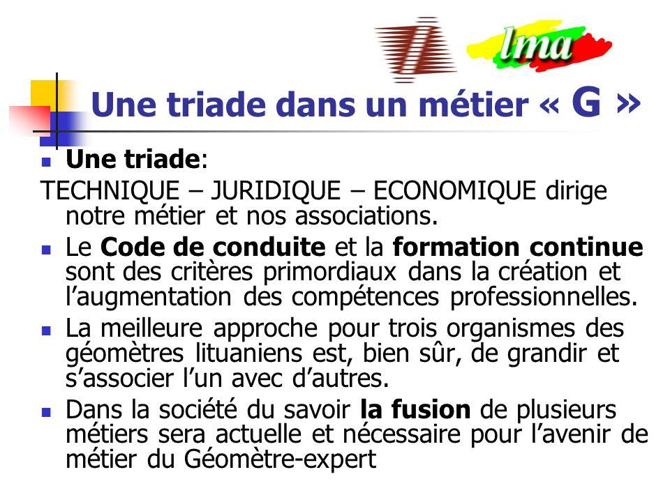 Une triade dans un métier « G » Une triade: TECHNIQUE – JURIDIQUE – ECONOMIQUE dirige notre métier et nos associations.