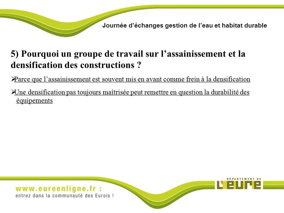 Journée déchanges gestion de leau et habitat durable 5) Pourquoi un groupe de travail sur lassainissement et la densification des constructions .
