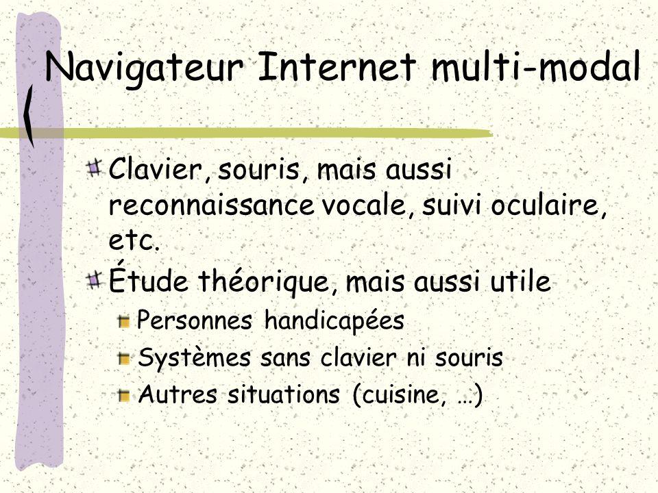 Navigateur Internet multi-modal Clavier, souris, mais aussi reconnaissance vocale, suivi oculaire, etc.