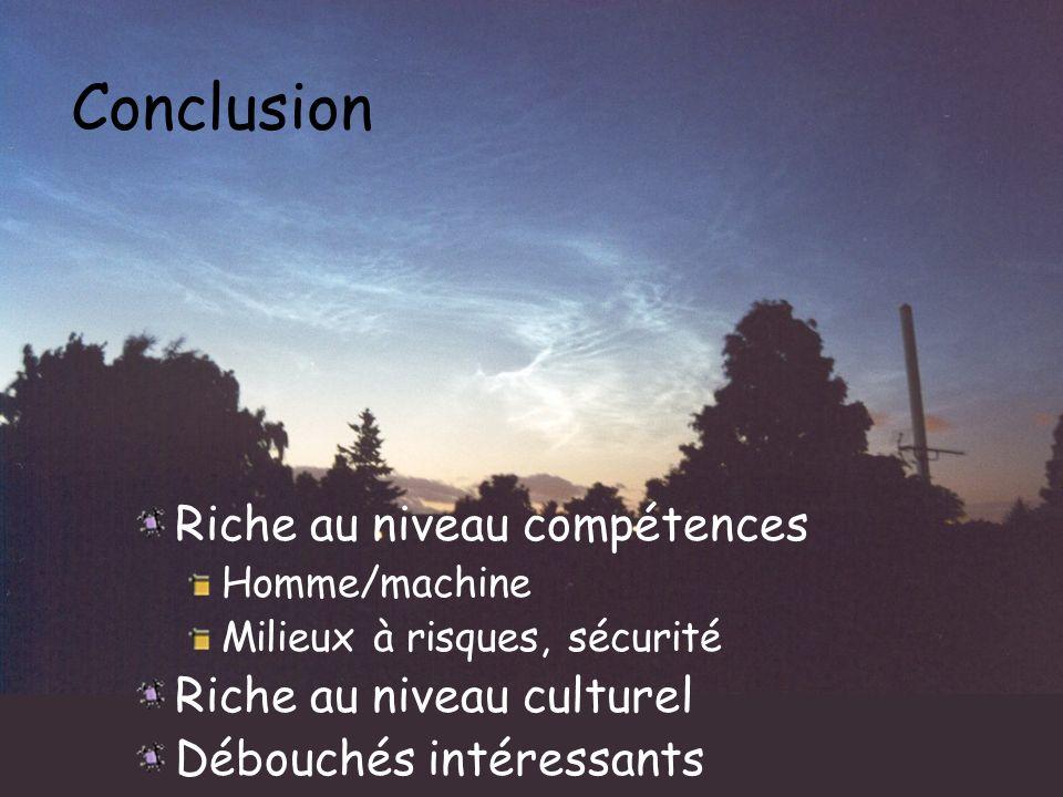 Conclusion Riche au niveau compétences Homme/machine Milieux à risques, sécurité Riche au niveau culturel Débouchés intéressants