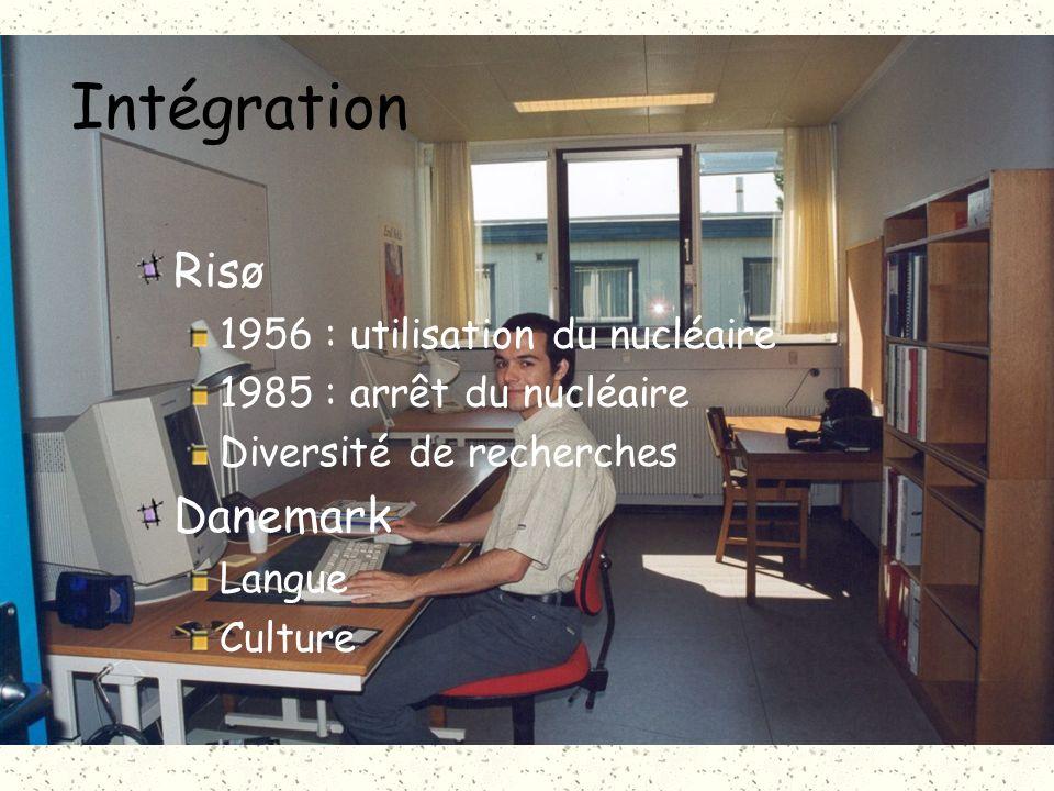 Intégration Risø 1956 : utilisation du nucléaire 1985 : arrêt du nucléaire Diversité de recherches Danemark Langue Culture